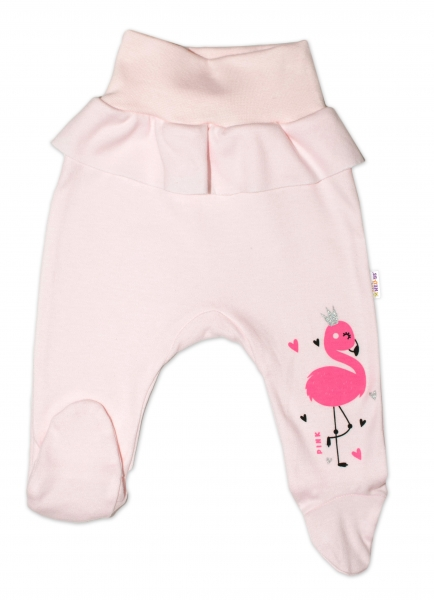 Baby Nellys Bavlnené dojčenské polodupačky, Flamingo - růžové, veľ. 86
