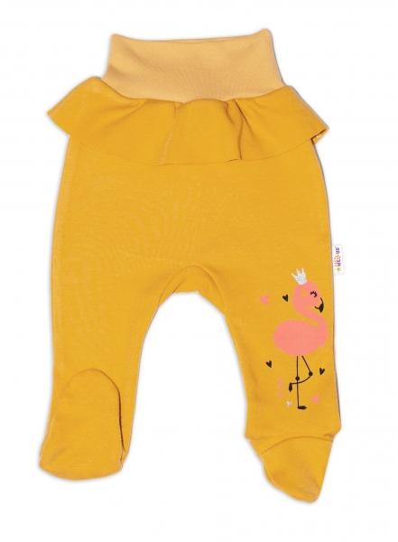 Baby Nellys Bavlnené dojčenské polodupačky, Flamingo - horčicové