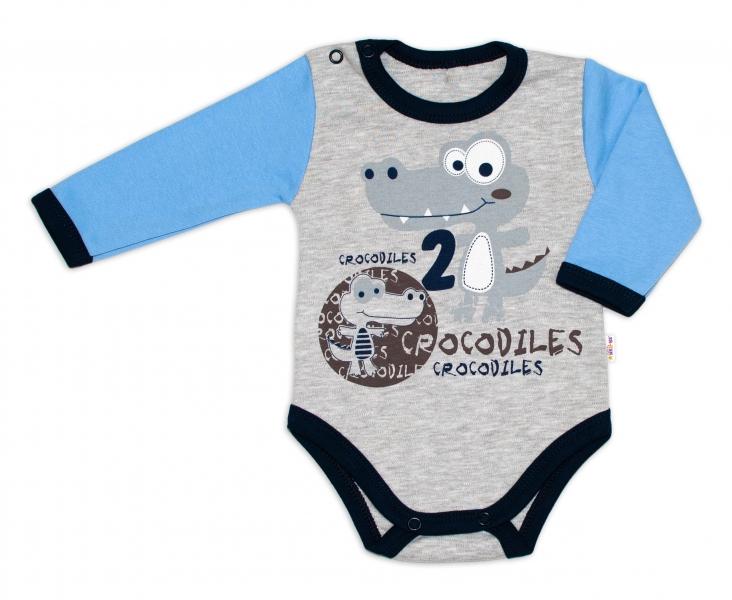 Baby Nellys Bavlnené dojčenské body, dl. rukáv, Crocodiles - šedo/modré
