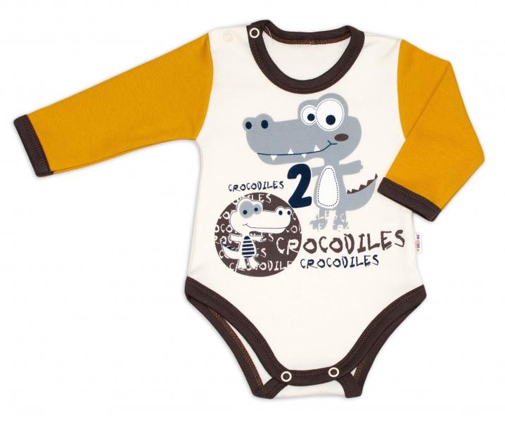 Baby Nellys Bavlnené dojčenské body, dl. rukáv, Crocodiles - smot /horčicová, veľ. 62