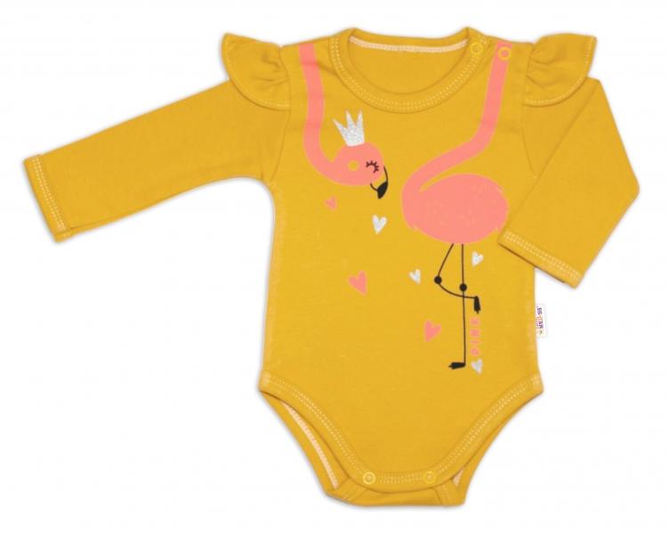 Bavlnené dojčenské body, dl. rukáv, Flamingo s volánikom - horčicové, veľ. 80