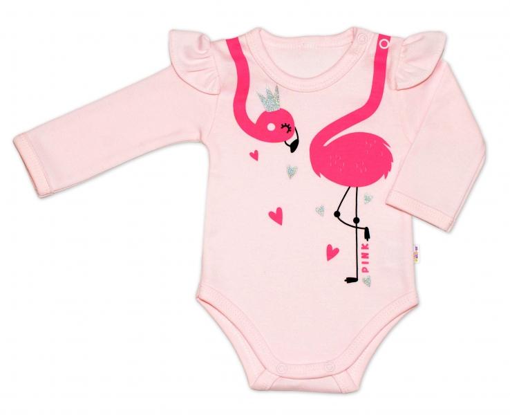 Baby Nellys Bavlnené dojčenské body, dl. rukáv, Flamingo s volánikom - růžové