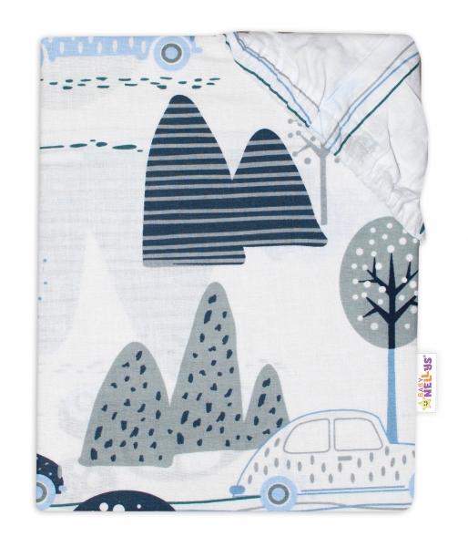 Baby Nellys Detské bavl. prestieradlo do postieľky - Autá v aleji - modré, roz. 140x70 cm-#Rozměry;140x70