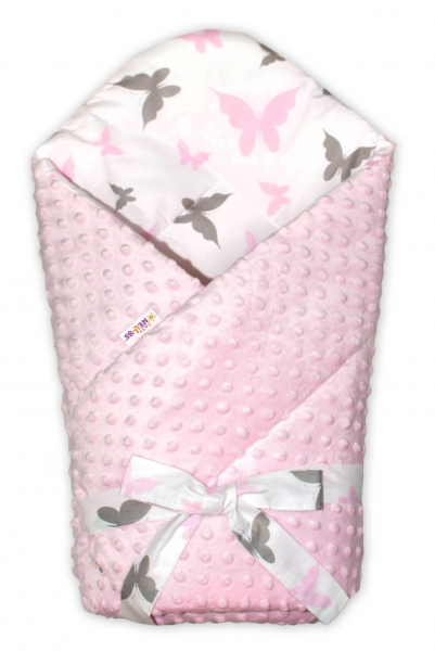 Baby Nellys  Obojstranná zavinovačka 75x75cm Minky zo stuhou - Motýliky - sv. ružová