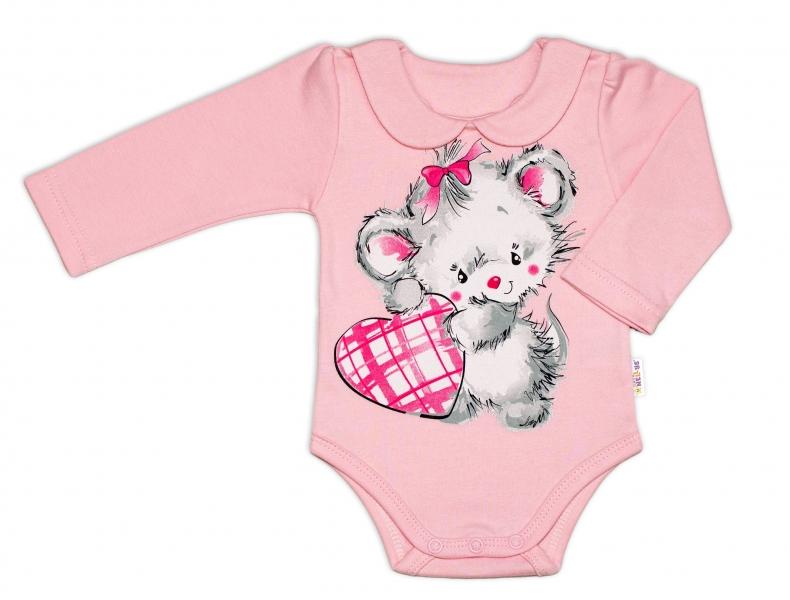 Baby Nellys Bavlnené dojčenské body, dl. rukáv, Mouse Love - růžový-62 (2-3m)