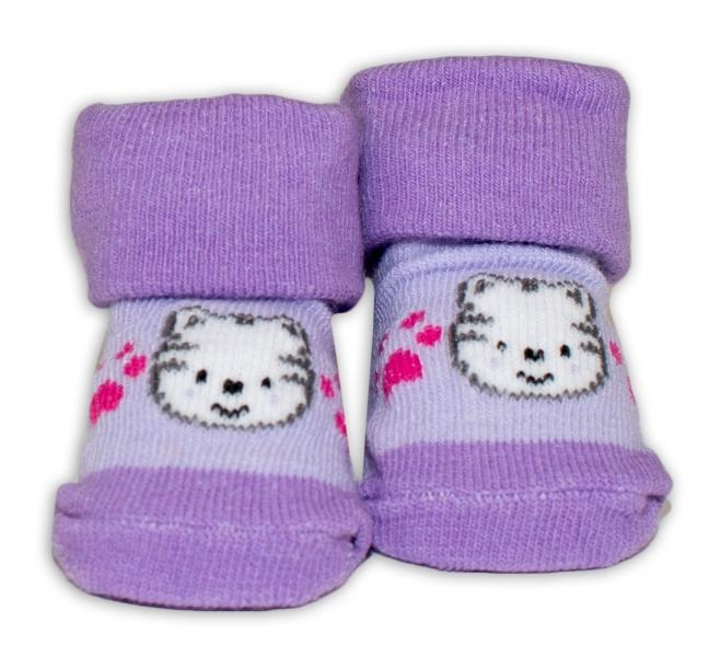 Dojčenské ponožky 0-6 m,Bobo Baby - Mačička, fialová