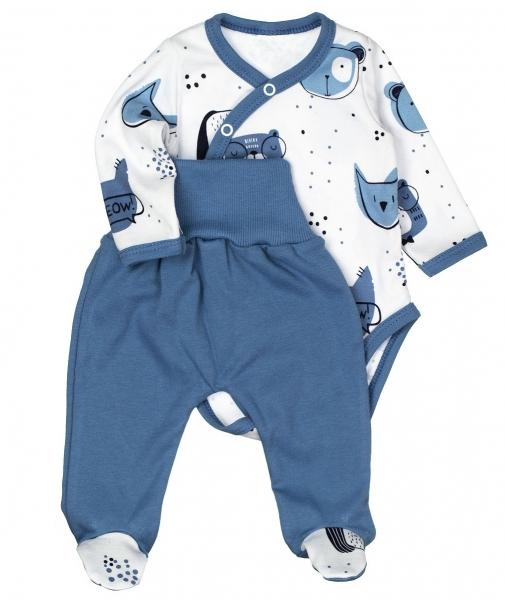 MBaby 2-dielna dojčenská sada ANIMAL, modrá-bílá