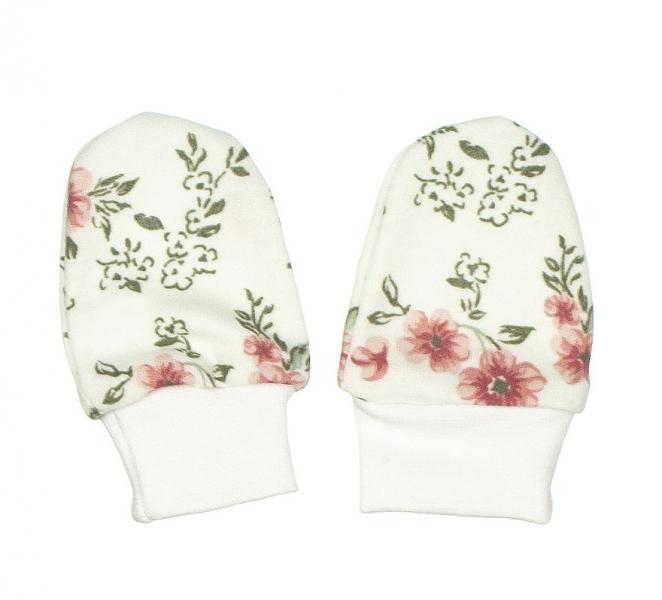 Baby Dojčenské rukavičky ROSE, púdrová-biela-0/3měsíců
