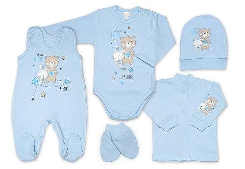 G-baby 5-dielna bavlněná súpravička do pôrodnice Little friends - modrá, veľ. 62-62 (2-3m)