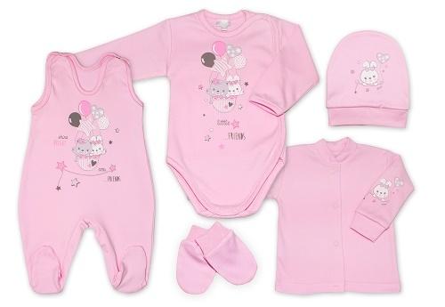 G-baby 5-dielna bavlněná súpravička do pôrodnice Little friends - růžová, veľ. 62-62 (2-3m)