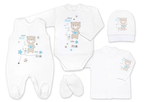 G-baby 5-dielna bavlnená súpravička do pôrodnice Little friends - bílo/modrá, veľ. 62-62 (2-3m)