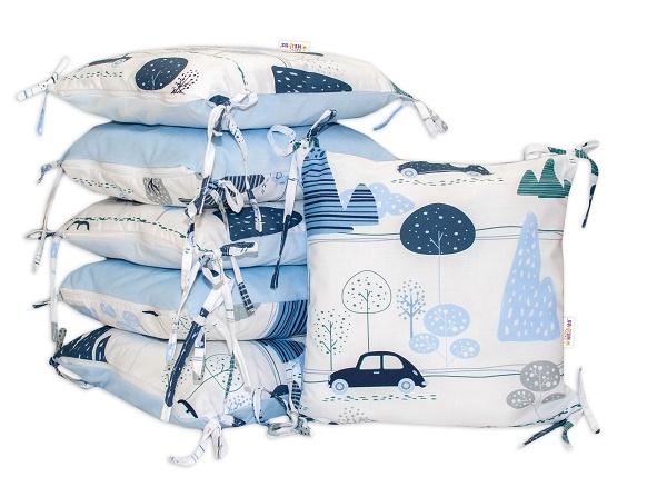 Baby Nellys  Vankúšikový mantinel, Auta v aleji, velvet + bavlna, modrá