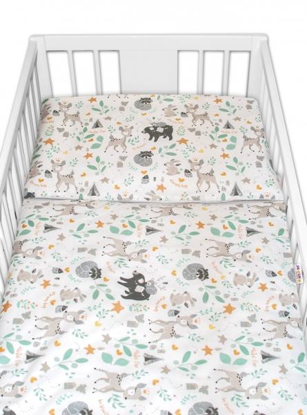 2-dielne bavlnené obliečky s Minky Baby Nellys - Wild animals, sivá, 120x90 cm