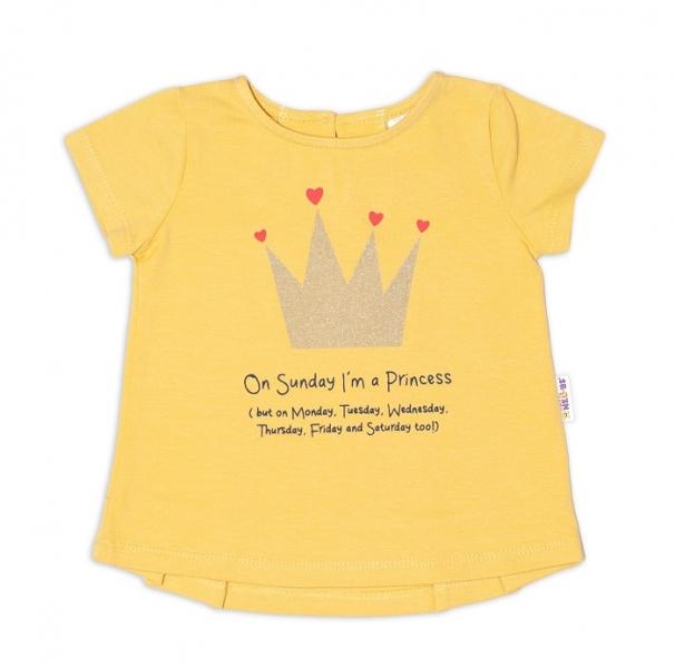 K-Baby Detské bavlnené tričko, krátky rukáv - Princess - horčicove, veľ. 74
