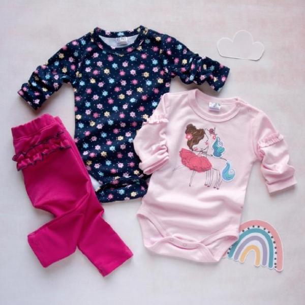 K-Baby 3 dielna sada - 2x body dlhý rukáv, tepláčky - Baletka růžová, granát