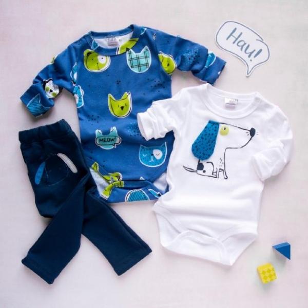 K-Baby 3 dielna sada - 2x body dlhý rukáv, tepláčky - Psík, modrá, biela, veľ. 74