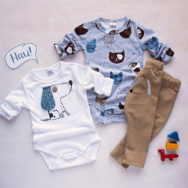 K-Baby 3 dielna sada - 2x body dlhý rukáv, tepláčky - Psík, modrá, biela, béžová, veľ. 74