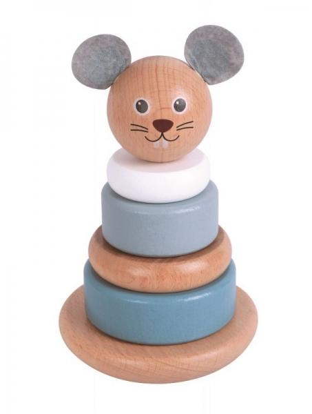 Lelin Drevená balančná veža, pyramida Myš - sivá / biela