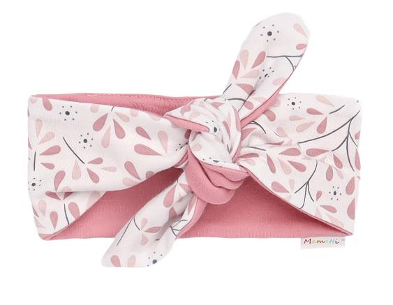 Mamatti Detská čelenka Pin-up Tokio - ružová, biela-univerzální