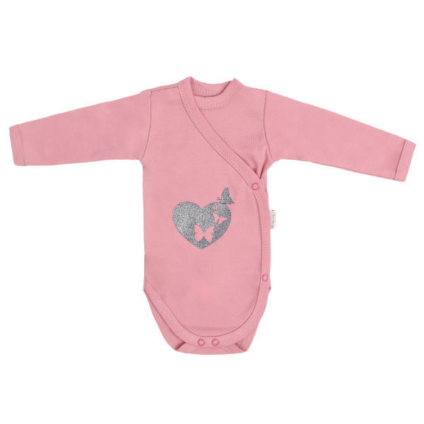 Dojčenské body, zapínanie bokom, Tokio - ružové, veľ. 62