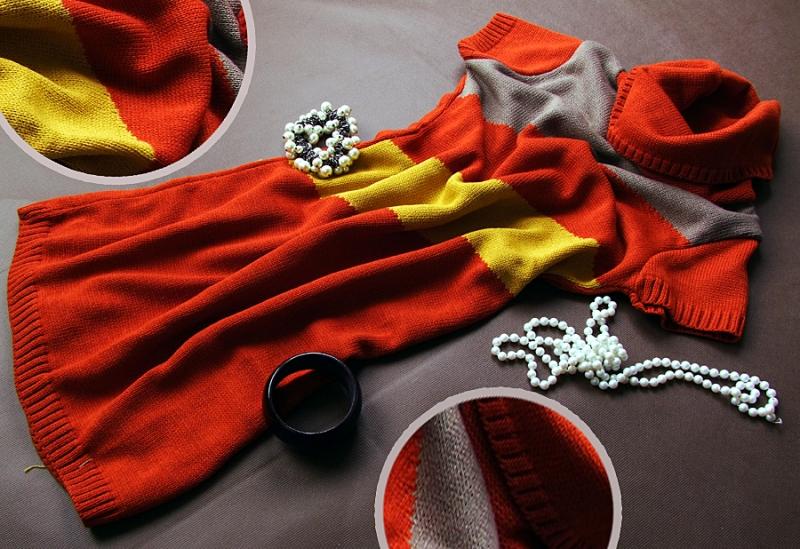 Be MaaMaa Tehotenská svetrové rolákové tunika JULIE - červená-horčice