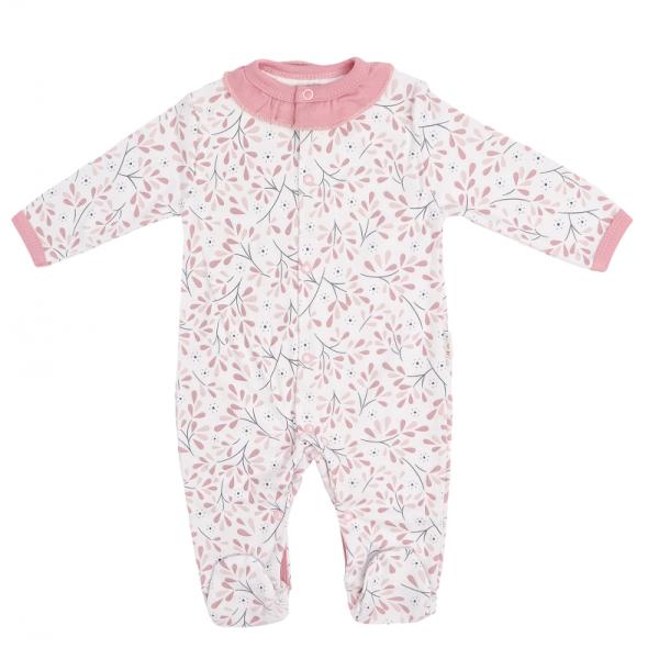 Mamatti Dojčenský bavlnený overal Tokio, bielo-ružový, veľ. 74