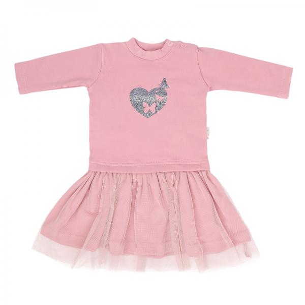 Detské šaty s tylom Tokio, ružové, veľ. 92