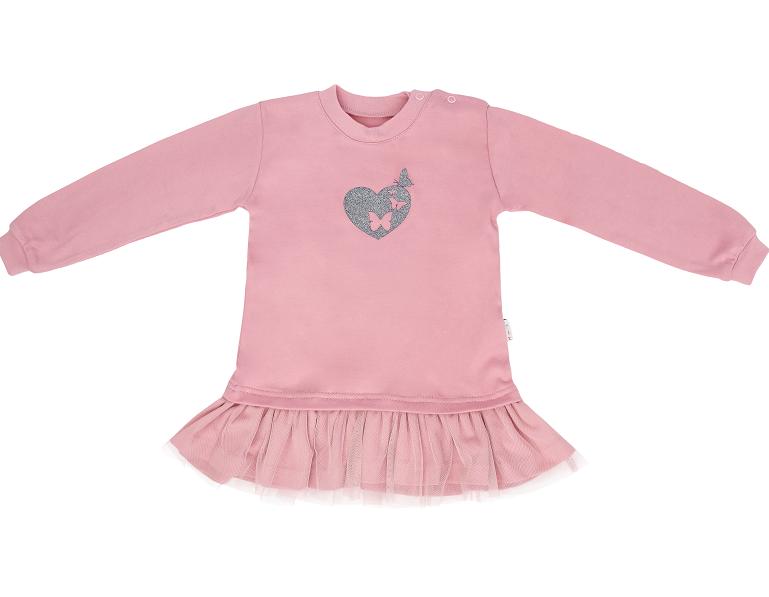 Dojčenské tričko, tunika s tylom Tokio, ružové, veľ. 80