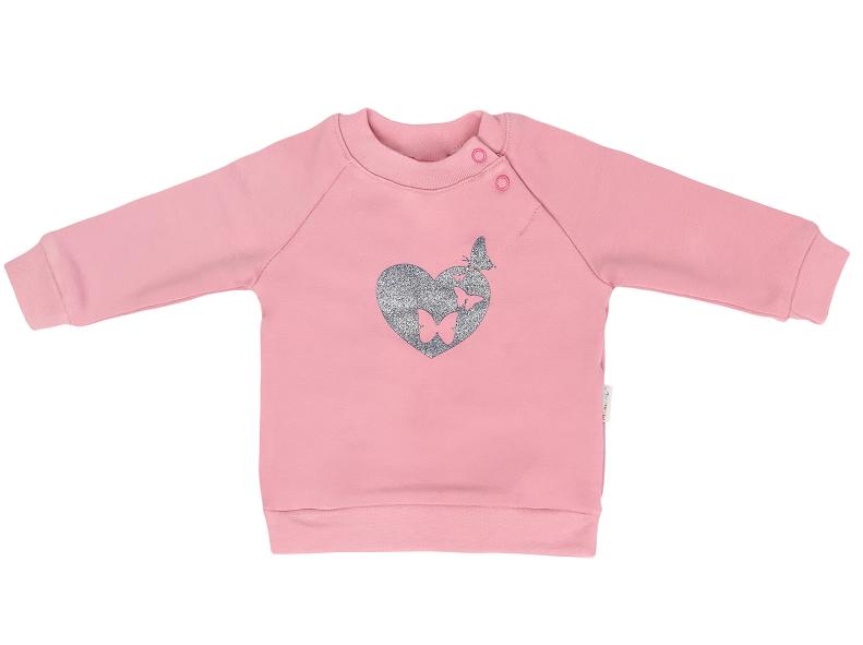 Mamatti Detská mikina Tokio, s bočným zapínaním - ružová, veľ. 92-92 (18-24m)