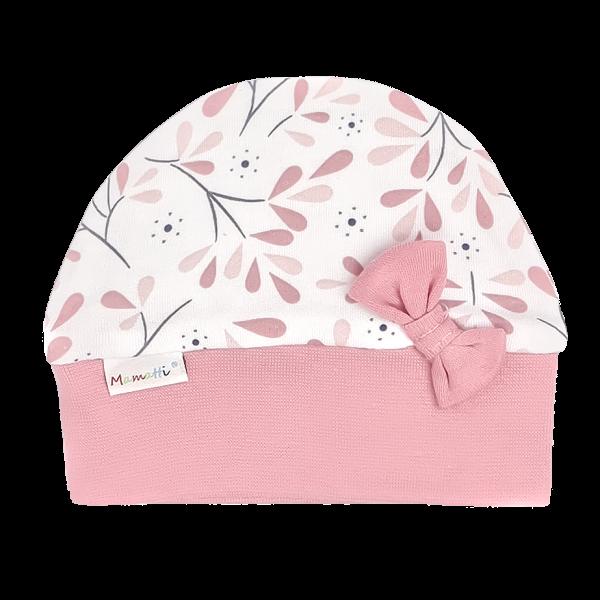 Mamatti Dojčenská čiapočka Tokio s mašličkou, ružovo-biela, veľ. 68