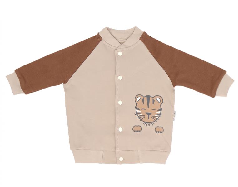 Mamatti Bavlnená detská mikina Lion, béžovo-hnědá, veľ. 74