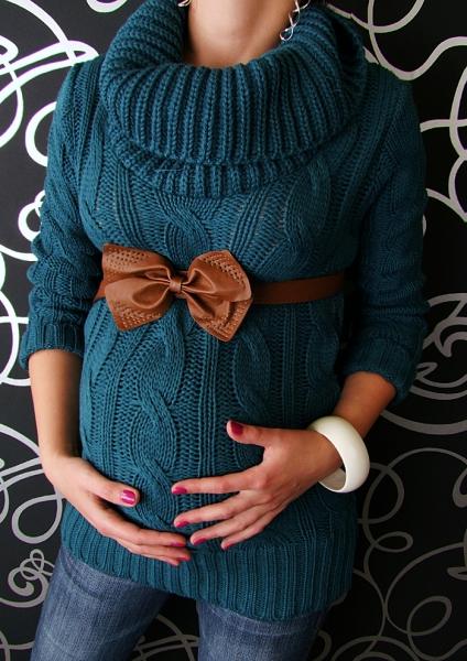 Těhotenský svetřík s rolákem - mořská