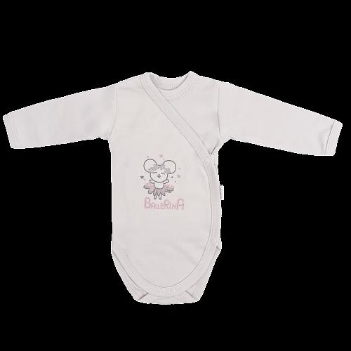 Dojčenské body, zapínanie bokom, Lúka - sivé, veľ 50