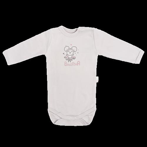 Detské bavlnené body Lúka - sivé, veľ 68