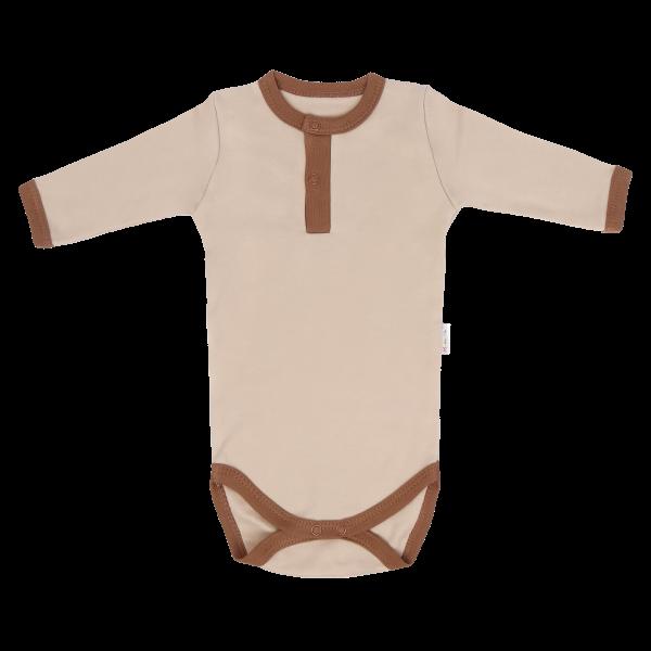 Dojčenské body/polo Mamatti dl. rukáv Lion - béžová / hnedá, veľ. 74