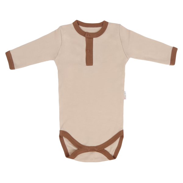 Dojčenské body/polo Mamatti dl. rukáv Lion - béžová / hnedá, veľ. 80