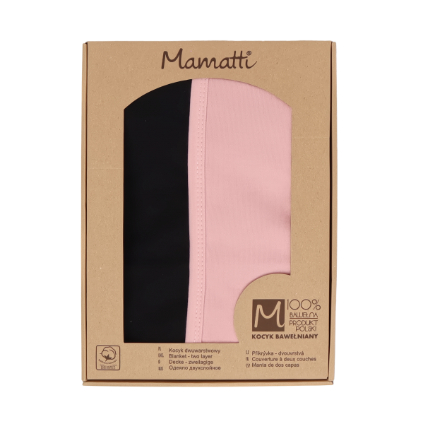 Mamatti Detská bavlněná deka, Mašle - 80 x 90 cm, v darčekovej krabičke, pudrová-čierna
