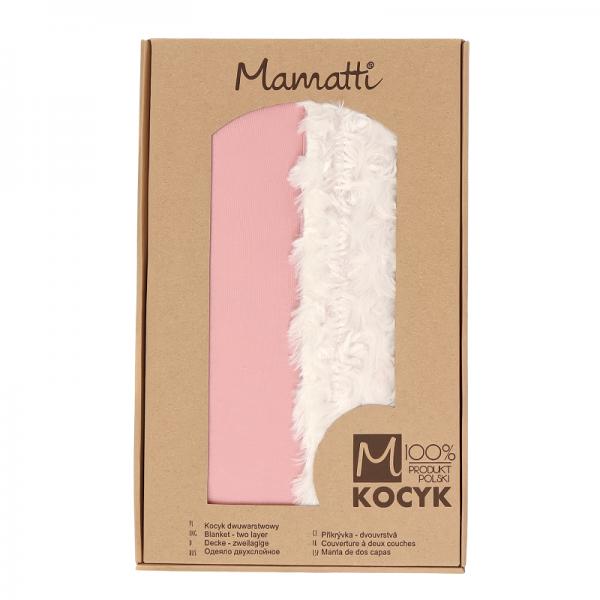 Mamatti Detská bavlněná deka s minky, Mašle - 75 x 90 cm, pudrová-ecru