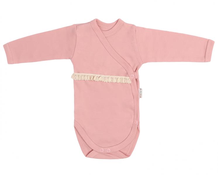 Mamatti Dojčenské body s čipkou, zapínanie bokom, Mašle - pudrové-#Velikost koj. oblečení;50 (0-1m)