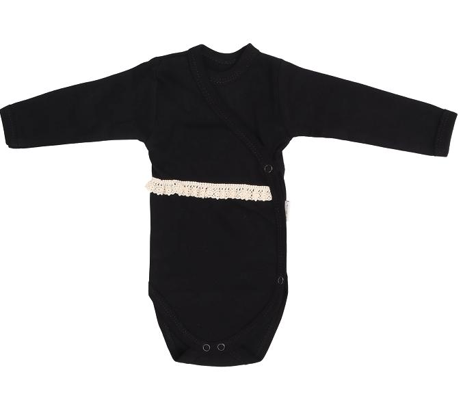Mamatti Dojčenské body s čipkou, zapínanie bokom, Mašle - černé-#Velikost koj. oblečení;50 (0-1m)