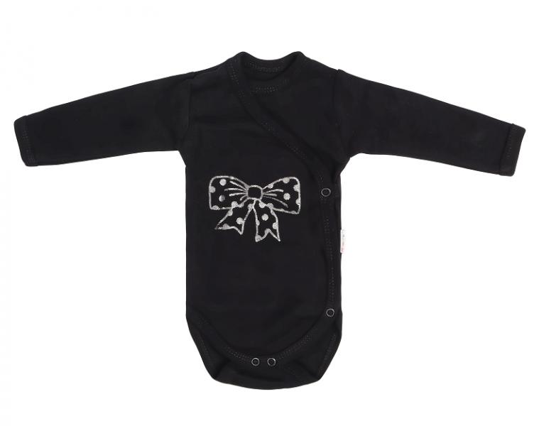 Dojčenské body s mašličkou, zapínanie bokom, - čierne, veľ. 62