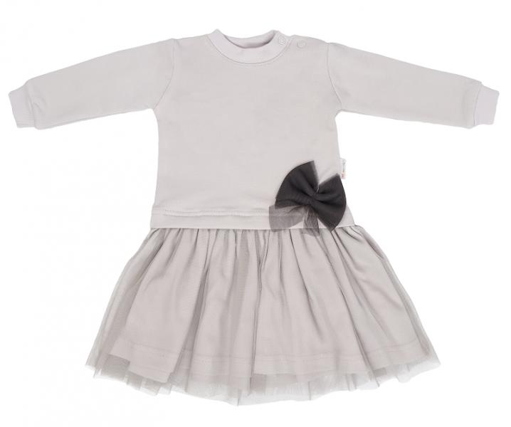 Mamatti Detské šaty s tylom Lúka - sivé, veľ. 86