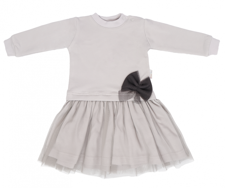 Mamatti Detské šaty s tylom Lúka - sivé, veľ. 92