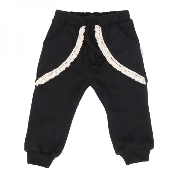 Dojčenské tepláčky s vreckami, Mašľa - čierne, veľ 68