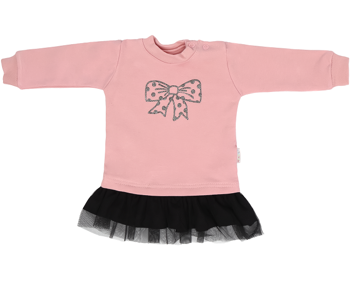 Mamatti Detské tričko, tunika s čiernym tylom Mašle - púdrové, veľ. 86-#Velikost koj. oblečení;86 (12-18m)