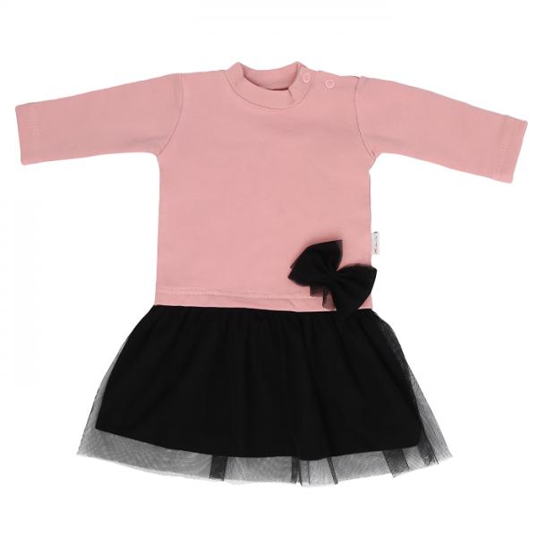 Detské šaty s čiernym tylom Mašľa - púdrové, veľ. 98
