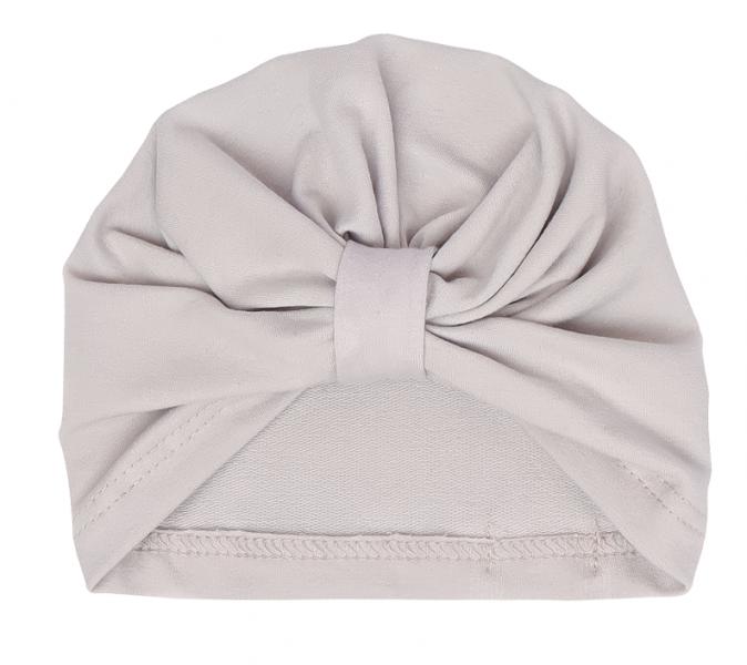 Mamatti Bavlnená detská čiapka - turban, Lúka - šedá-0-1rok