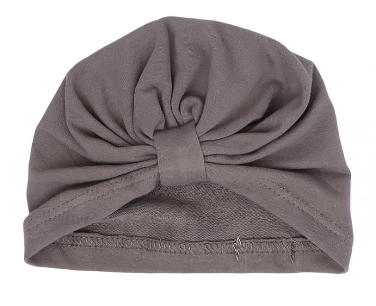 Mamatti Bavlnená detská čiapka - turban, Lúka - sivá, veľ. 2 - 3 rok
