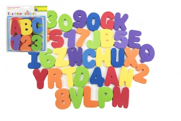 Penová písmená a číslice vodolepky 8cm na karte