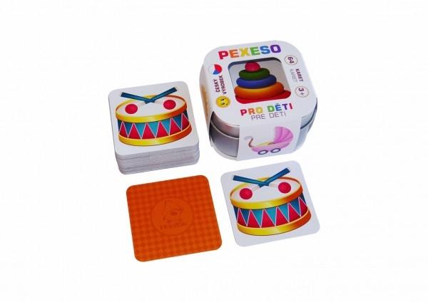 Pexeso Pre deti 64 kariet v plechovej krabičke 6x6x4cm Hmaťák